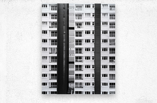 white and black city buildings  Metal print