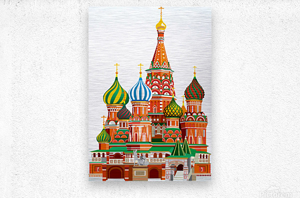 moscow kremlin saint basils cathedral red square l vector illustration moscow building  Metal print