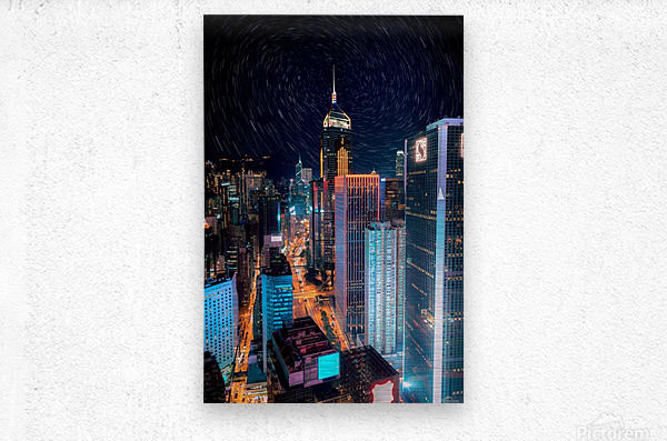 high rise buildings with lights  Metal print