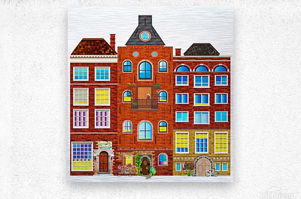 town buildings old brick building  Metal print