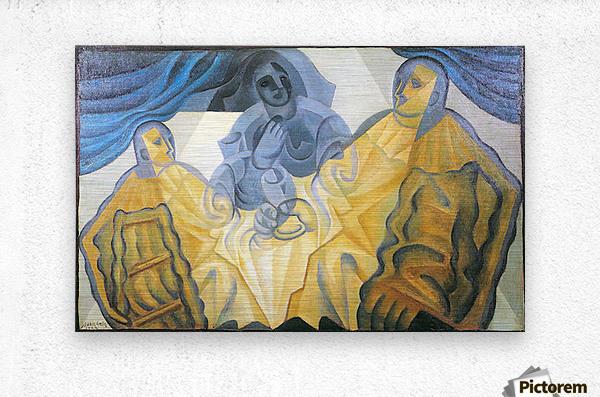 Three masks by Juan Gris  Metal print