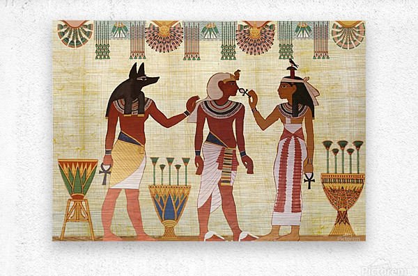 egyptian design man woman priest  Metal print