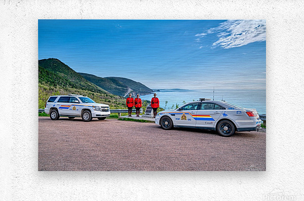 RCMP at ease with cruisers at French Mountain Monument  Metal print