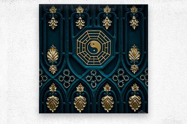 blue and brown yin yang illustration  Metal print