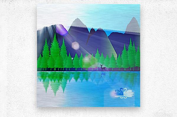 forest landscape pine trees forest  Metal print