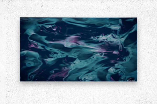 Magic Snake - turquoise blue purple swirls abstract wall art  Metal print