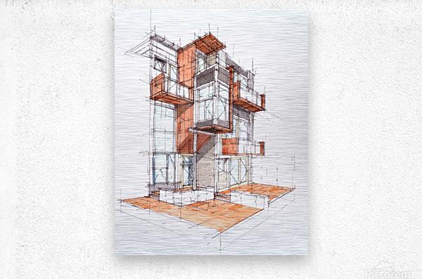 rag flats onion flats llc architecture drawing graffiti architecture  Metal print