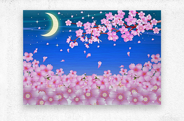 sakura cherry blossom night moon  Metal print