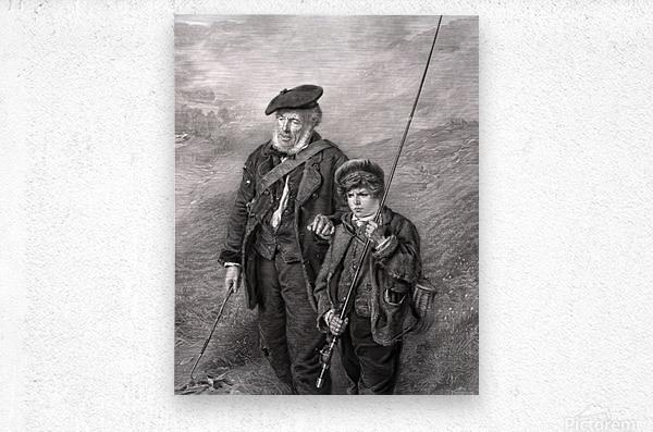 sea fishing fishing man boy lad  Metal print