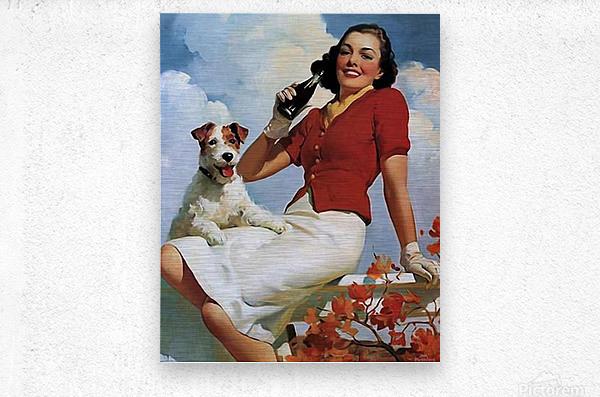 vintage poster soda woman and dog  Metal print