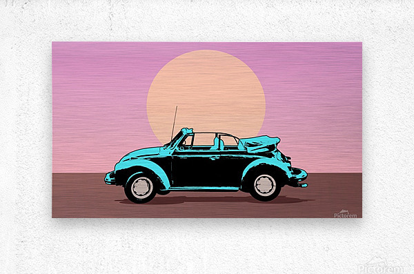 car poster retro vintage landscape  Metal print
