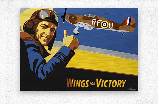 vintage war pilot airplane victory  Metal print