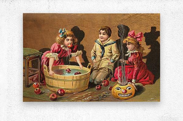 halloween vintage kids card happy  Metal print