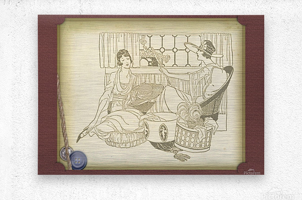 vintage card greeting ladies  Metal print
