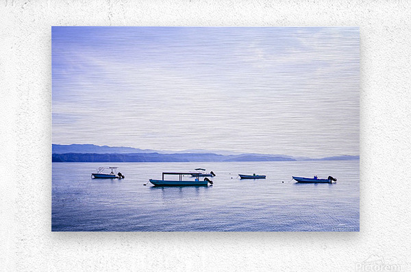 Sunrise in the Osa peninsula with boats in harbour  Metal print