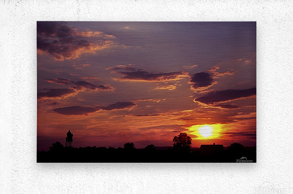 Manasas Battlefields Sunset With Statue Silhouette in left Corner  Metal print
