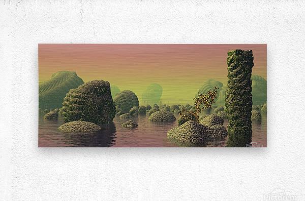 planet water sea landscape space  Metal print