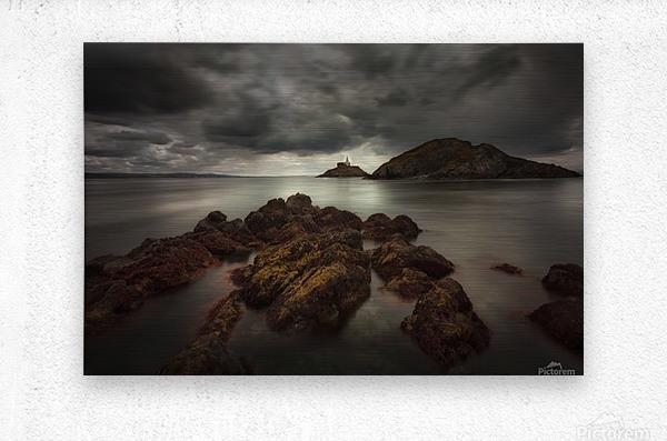 Storm clouds over Mumbles lighthouse  Metal print