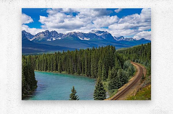 Train Tracks and River Bend  Metal print