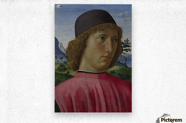 Portrait of a young men in red  Metal print