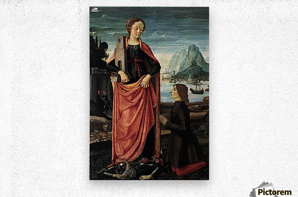 St Barbara crushing her father  Metal print