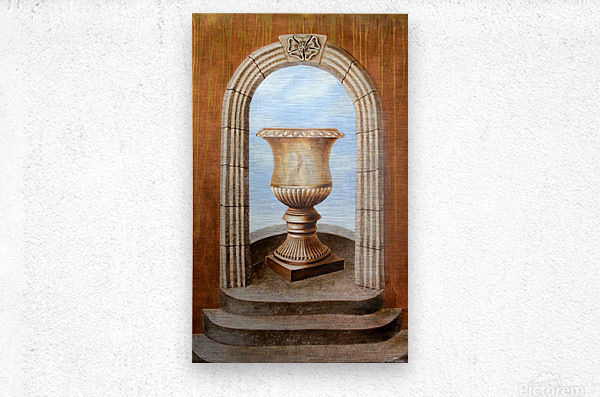 Marbled Urn Alcove - Trompe Loeil  Metal print