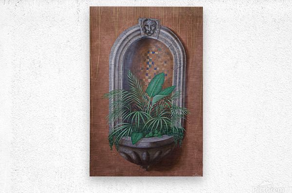 Wall Alcove with Plants - Trompe Loeil  Metal print