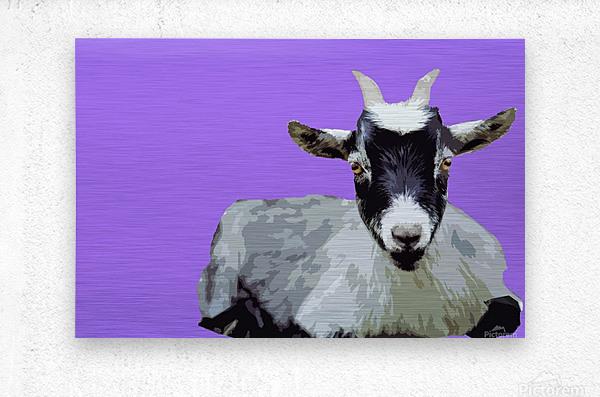 Goat popart purple  Metal print