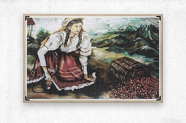 Harvesting The Coffee Beans   Metal print