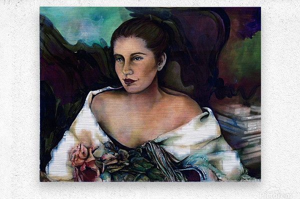 Spanish Lady With A Rose  Metal print