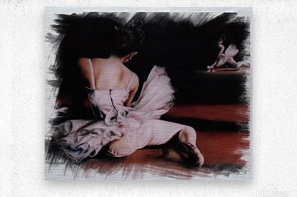 Ballerina In The Mirror .   Metal print