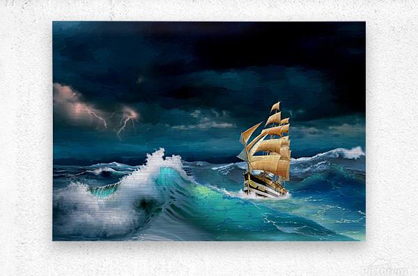 Hard way sailboat. sailing ship  Metal print