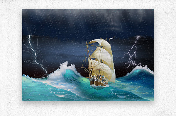 Dangerous journey sailing ship.   Metal print