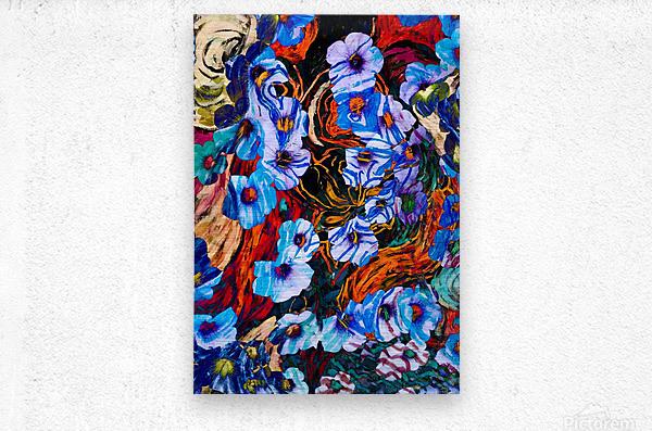 floral mottled indigo  Metal print