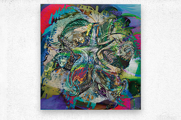 mottled multicolored abstract composition  Metal print