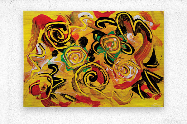 abstract yellow swirls  Metal print