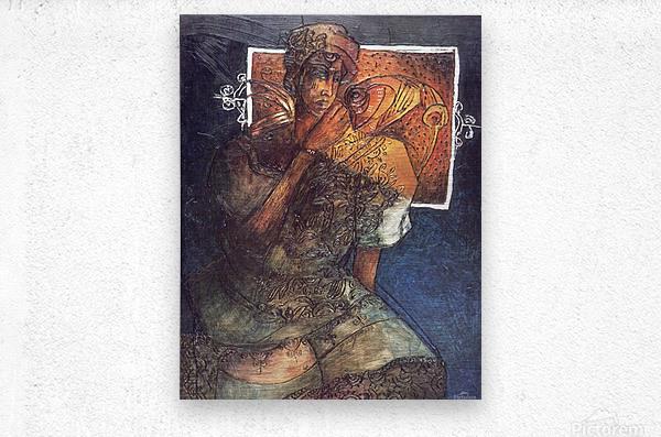 Femme assise  Impression metal