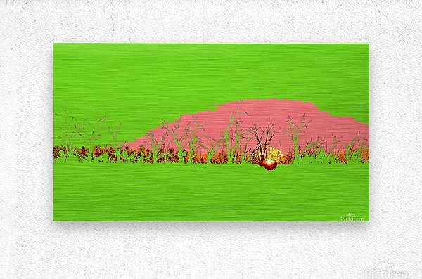 Lake Sunset - Green  Metal print