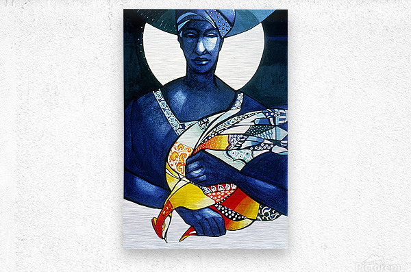 Blue Woman with a bird  Metal print