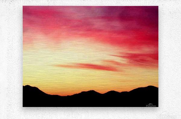 Colorful Dusk Mountain view  Metal print