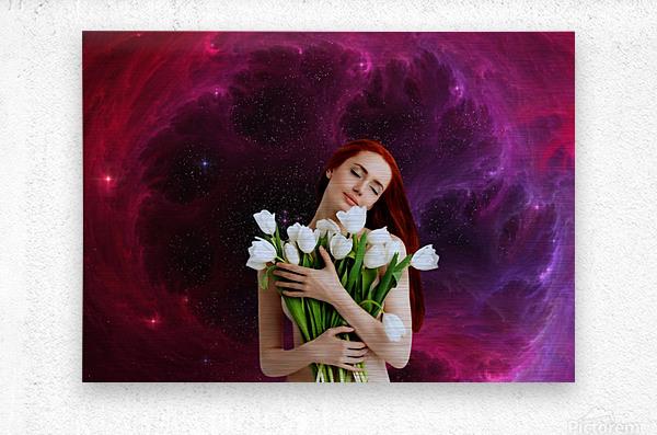 Girl with tulips. Madonna 3  Metal print