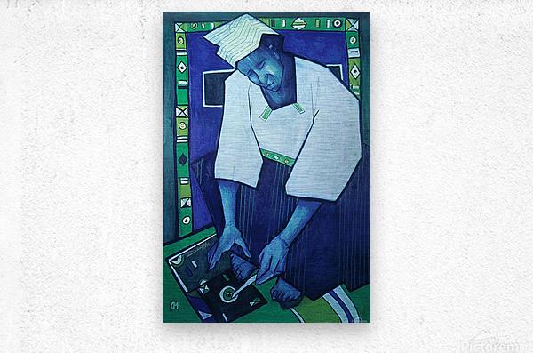 Mozaik bleu  Metal print