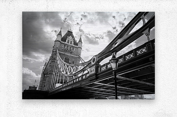 The Might of Tower Bridge Black and White  Metal print