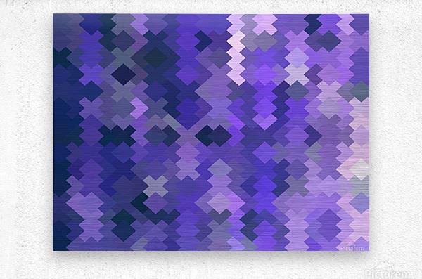 geometric square pixel pattern abstract in purple  Metal print