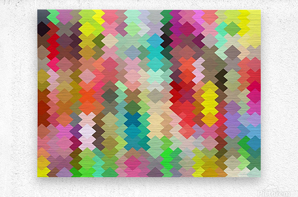 geometric square pixel pattern abstract in red blue green yellow  Metal print