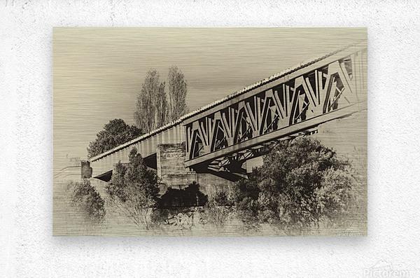 Railway Bridge in B&W  Metal print
