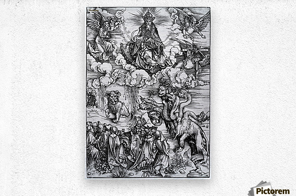 The Revelation of St John The Sea Monster and the Beast with the Lambs Horn  Metal print
