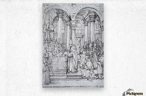Mass of Cardinal Albrecht of Brandenburg in the Abbey Church Hall  Metal print