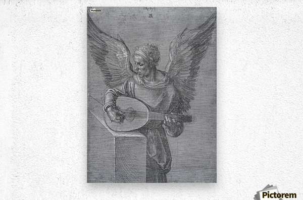 Winged Man In Idealistic Clothing, playing a Lute  Metal print