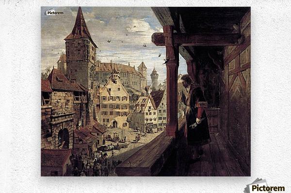 Albrecht Dürer on the Balcony of his House  Metal print